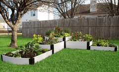 "Frame It All Raised Garden Bed Split Waterfall Tri-Level 12' x 12' x 24"" - Classic White"