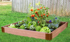 "Frame It All Raised Garden Bed 4' x 4' x 5.5"" – 1"" profile - Classic Sienna"