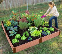 Frame It All Composite Raised Garden Kit 8ft. X 8ft. X 11 in. Square (1 inch profile) - Classic Sienna