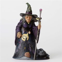 """Jim Shore """"Be Very Afraid"""" Witch with Graveyard / Silhouette Scene Figurine"""