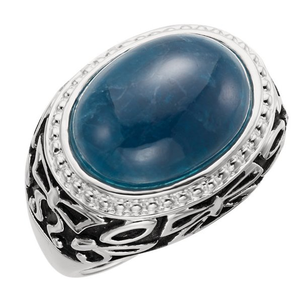STERLING SILVER- Opaque Apatite Ring, Size 8