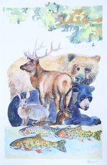 Stacked Animals with Trout and Bears-SOLD