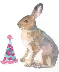 12 Printed Birthday Bunny place Cards