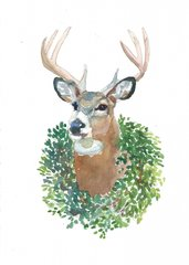 6 Printed Deer/Wreath Gift Tags/Enclosures