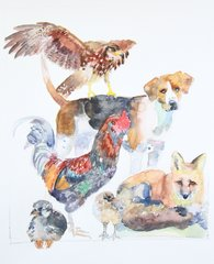Stacked Animals with Rooster- SOLD