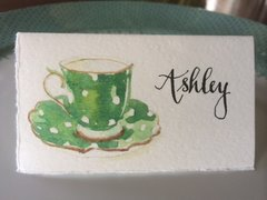 12 Printed Tea Cup Place Cards