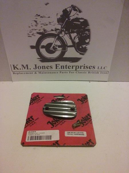 KMJ018, Master Cylinder cover, finned, Hinckley Triumph Bonneville's, 2001-15, mfg by Joker Machine