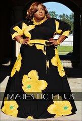 FLORAL YELLOW & BLACK SUPER PLUS MAXI DRESS