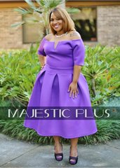 Purple Pleated Tea Dress