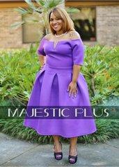 Purple Pleated Tea Dress