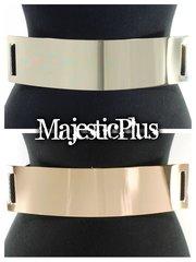 "2.5"" Plus Size Metal Plate Stretch Belt"
