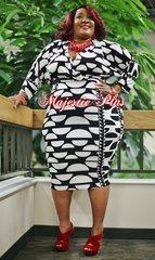 Circle Print Wrap Style Midi Dress