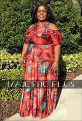 Paisley Printed Cold Shoulder Maxi Dress