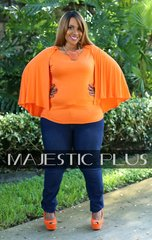 Cape Sleeve Flare Top- Orange