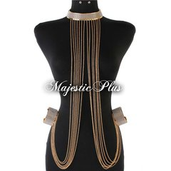 Rhinestone Chain Choker w/Attached Chains & Cuff Bracelets