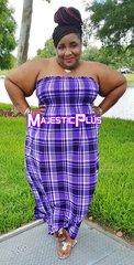 PURPLE PLAID STRAPLESS HALTER MAXI DRESS