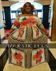 Off Shoulder Lace And Floral Print SP Maxi Dress