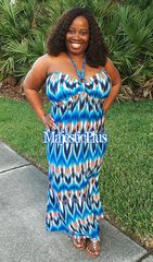 Beaded Tribal Print Cupped Maxi Dress