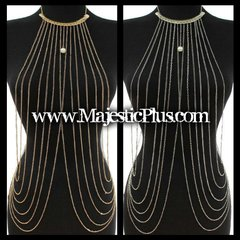 Body Chain Vest w/Draped Sides and Neck Plate w/Pearl