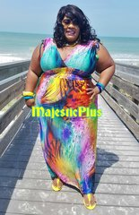 Low Cut Multi Color Swoosh Smock Waist Maxi Dress