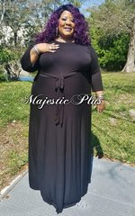Solid Black SP Maxi Dress w/Waist Tie & Pockets