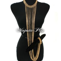 Body Chain Choker w/Attached Bracelet