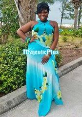 Elegant Floral Chiffon Choker Halter Dress