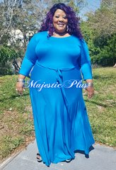 Solid Teal SP Maxi Dress w/Waist Tie & Pockets