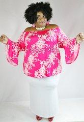 Off Shoulder Pink Bell Sleeve Top