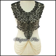 Body Chain Vest w/Crochet Bust Panel and Drapes Side Chains