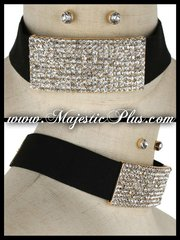 Rhinestone Plate Choker Necklace Set