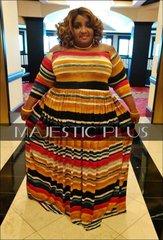 Off Shoulder Striped SP Maxi Dress