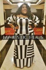 Off Shoulder Geo Print BodyCon Maxi Dress