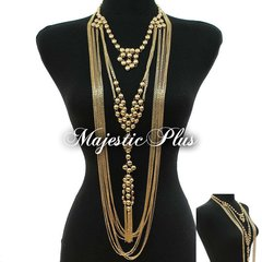 Body Chain Necklace w/Metal Bead Design and bottom Tassel