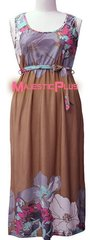 Floral Maxi with Waist Tie- Tan