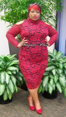 Elegant Rose Lace Pencil Dress w/Cold Shoulders