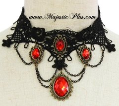 Red Oval Crystal Drop Crochet Choker