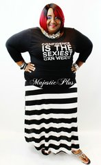 Striped Flared Maxi Skirt