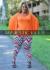 Leggings: Orange Multi Chevron