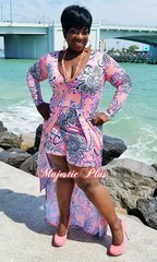 Long Sleeve Coral Baroque Print Romper w/ Overlay Cape Skirt