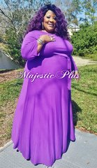 Solid Purple SP Maxi Dress w/Waist Tie & Pockets