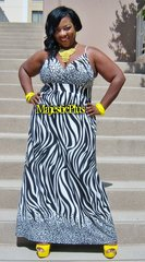 Elegant Cheetah/Zebra Print Maxi Dress