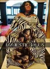 Off Shoulder Zebra Print SP Maxi Dress