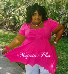 Babydoll Pixie Hem Top- Fuchsia Pink