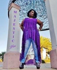 See Thru Purple Lace Hi-Low Ruffle Top