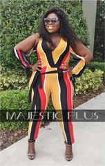 Striped Cold Arm Wrap Jumpsuit with Waist Tie