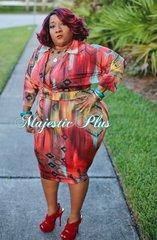 Aztec Tribal Print Wrap Style Midi Dress
