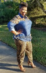 Denim Collar Blouse w/ Leopard Patchwork Detail
