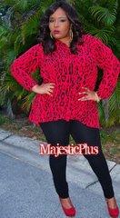 Cheetah Print Hi-Low Flare Blouse
