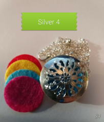 Silver 4 Aroma Therapy Diffuser Locket Necklace